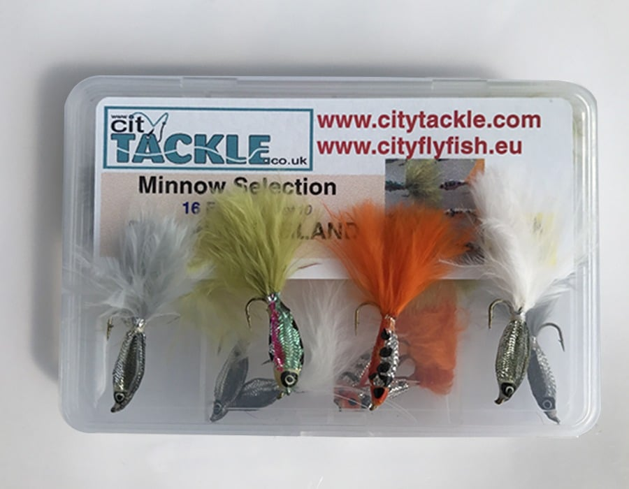 BestCity Fly Fishing Flies EPOXY MINNOWS 16 Flies for trout supplied with FREE clip shut fly box #340,